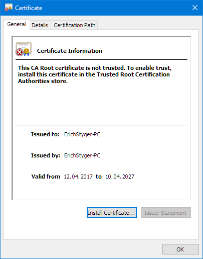 Key and certificate generation for secure communication using TLS