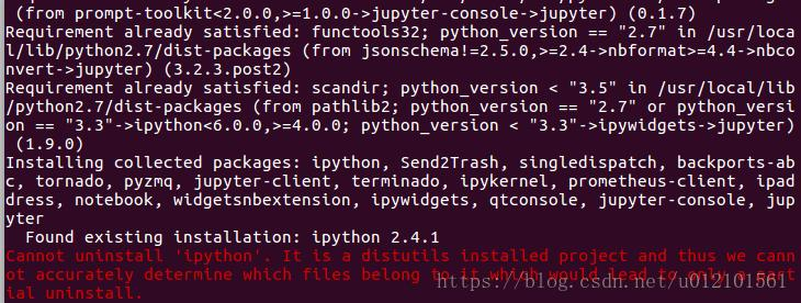 Cannot uninstall 'ipython'  It is a distutils installed