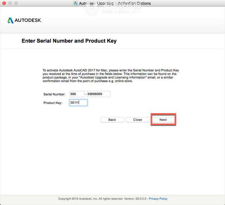 autocad 2017 serial number and product key