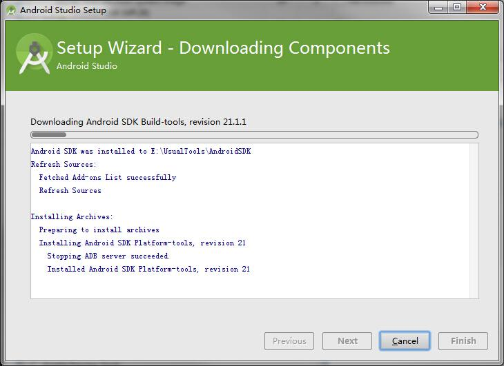 Android Studio installation is complete, the initial startup