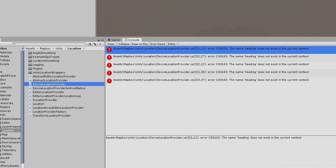 Mapbox error error CS0103: The name 'heading' unity import