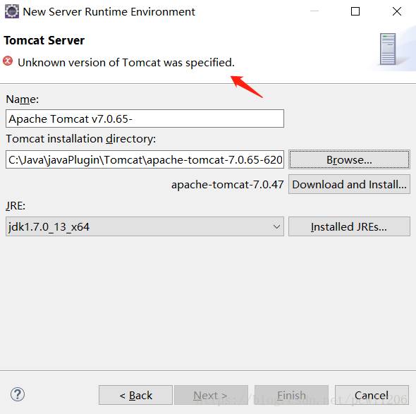 Eclipse error when importing new tomcat: Unknown version of