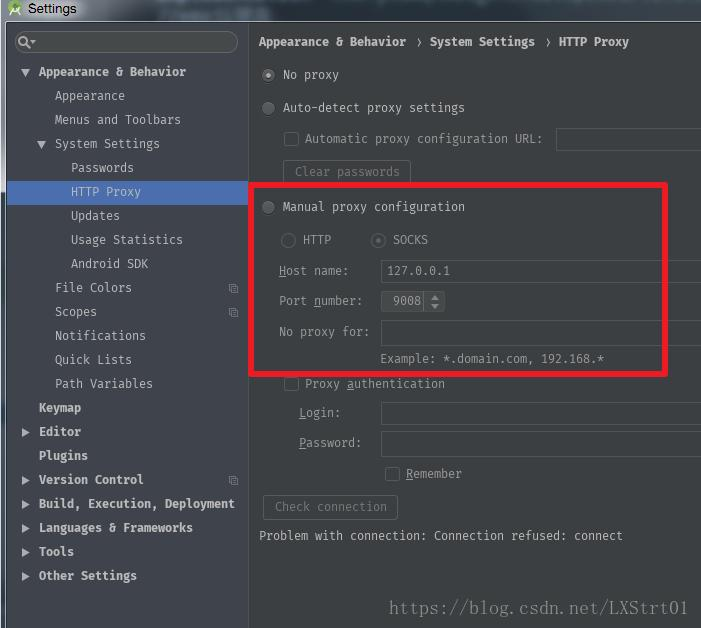 AndroidStudio: Connection refused: connect and disable to resolve